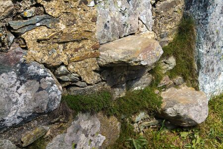 dry stone: Step style in dry stone wall, Holyhead, Anglesey, Wales, United Kingdom. Stock Photo