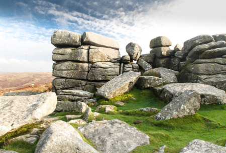 granite park: Granite weathered stone outcrops of Combestone Tor. Dartmoor National Park, Devon, England, United Kingdom.