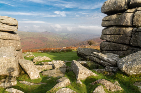 bleak: Granite weathered stone outcrops of Combestone Tor. Dartmoor National Park, Devon, England, United Kingdom.