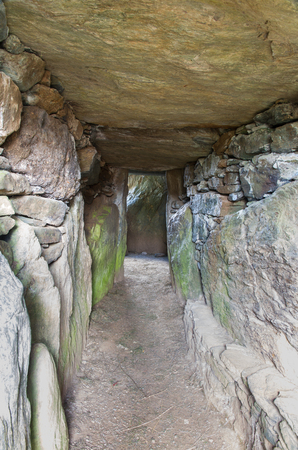 Interior of Bryn Celli Ddu, Anglesey, is one of the finest prehistoric passage tombs in Wales, United Kingdom.