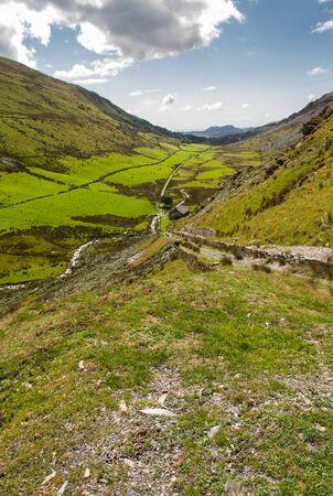 snowdonia: View from the top of the Croesor  Tramway Incline down Cwm Croesor. Snowdonia National Park, Gwynedd, Wales, United Kingdom.