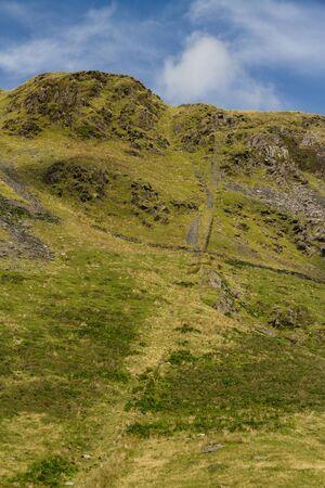 longest: Looking up at huge exit from Rhosydd Slate Mine, longest in the Welsh slate industry. Croesor Valley, Snowdonia National Park, Gwynedd, Wales, United Kingdom.