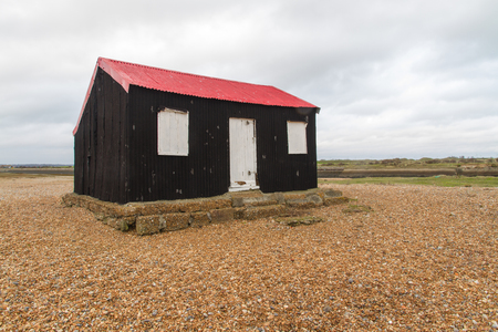 foe: Black wooden shed, Master?s TARDIS in Doctor Who, Trial of a Time Lord, The Ultimate Foe 1986. Rye Harbour Kent, England, United Kingdom. Editorial