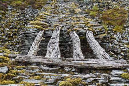 gravity: Only remaining wood bridge of gravity incline Cwm Penmachno Slate Quarry Snowdonia Wales United Kingdom Stock Photo