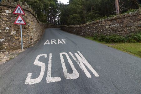 bilingual: Welsh lane with white written Araf Slow bilingual in Welsh and English. Wales United Kingdom. Stock Photo