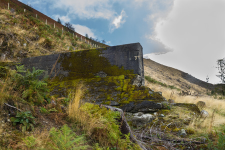 elan: Part of the NantyGro Dam. Destroyed by explosives by Barnes Wallis. Led to RAF 617 Squadron using bouncing bombs in the Dam busters raids. Elan Valley Powys Wales United Kingdom Europe.