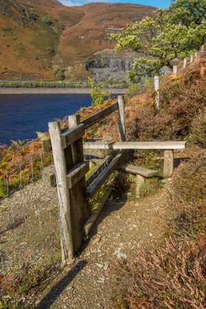 stile: Old Wooden Stile are common to cross field boundaries on footpaths in the United Kingdom. Powys Wales United Kingdom Europe.