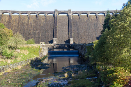 elan: The Claerwen Reservoir and Dam part of  Elan Valley Reservoirs. Powys Wales United Kingdom.