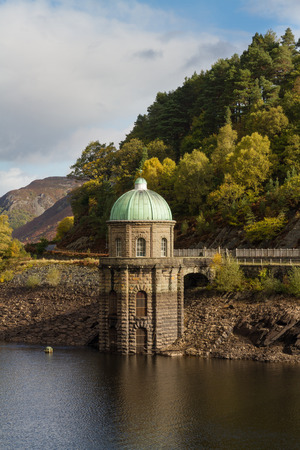 elan: Foel Tower is the intake of the Garregddu Reservoir water starts its 73 mile journey to Birmingham. Elan Valley Powys Wales United Kingdom Europe