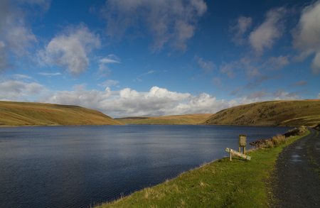 elan: The Claerwen Reservoir part of Elan Valley Reservoirs. Powys Wales United Kingdom.
