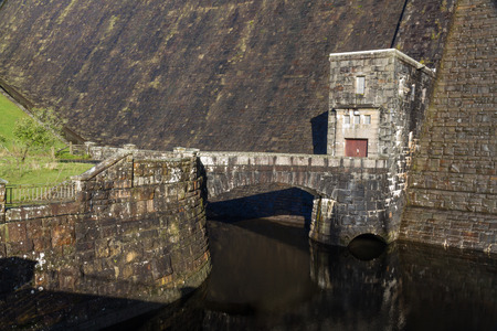 elan: outflow of the Claerwen Reservoir. Elan Valley Powys Wales United Kingdom Europe. Stock Photo