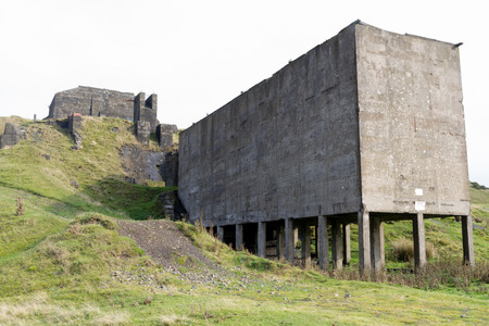loading bay: Concrete ruins remains of stone quarry loading bay. Clee Hill Shropshire England United Kingdom. Stock Photo