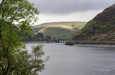 elan: The Garregddu Reservoir in mid Wales surrounded by hills. Elan Valley Powys Wales United Kingdom Europe