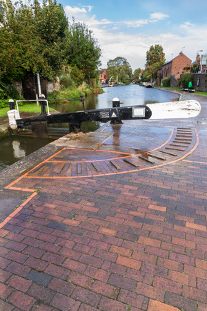 canal lock: Canal Lock. Staffordshire and Worcestershire Canal  Stourport on Severn Worcester England United Kingdom Europe