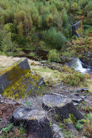 elan: The NantyGro Dam. Destroyed by explosives by Barnes Wallis. Led to RAF 617 Squadron using bouncing bombs in the Dam busters raids. Elan Valley Powys Wales United Kingdom Europe
