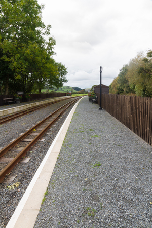 narrowgauge: Single railway track, at station, UK narrow gauge, Vale of Rheidol Railway, Ceredigion, Wales, United Kingdom, Europe.