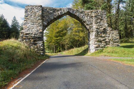 jubilee: The Jubilee Arch folly, Hafod estate,  Pontarfynach, Ceredigion, Wales, United Kingdom, Europe.