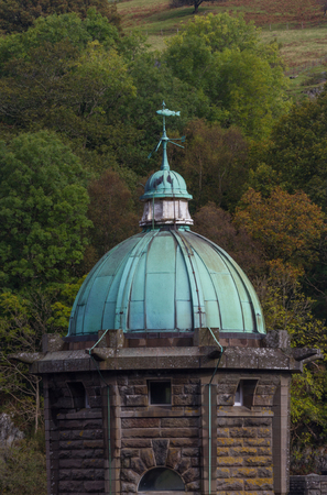 elan: Detail of  Tower of Pen-y-Garrog Dam, Elan Valley, Powys, Wales, United Kingdom, Europe. Green Verdigris dome made of copper. Stock Photo