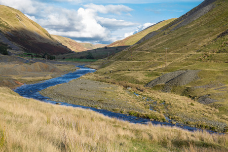 The valley of Cwmystwyth, remains of lead mining. Ceredigion, Wales, United Kingdom, Europe. Imagens