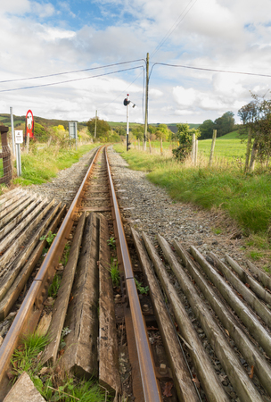 narrowgauge: Single railway track, UK narrow gauge, Vale of Rheidol Railway, Ceredigion, Wales, United Kingdom, Europe.