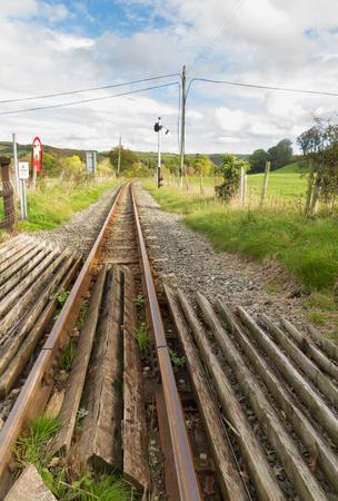 narrow gauge: Single railway track, UK narrow gauge, Vale of Rheidol Railway, Ceredigion, Wales, United Kingdom, Europe.