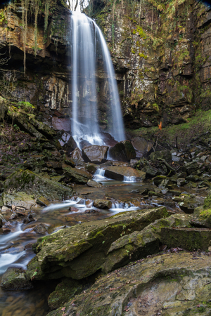 vale: Melincourt Falls, Resolven, Vale of Neath, Port Talbot, Wales, United Kingdom.