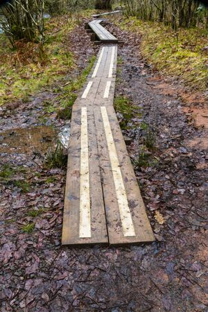 allow: Wooden boards making a boardwalk with metal strips to allow walking on muddy paths. Stock Photo
