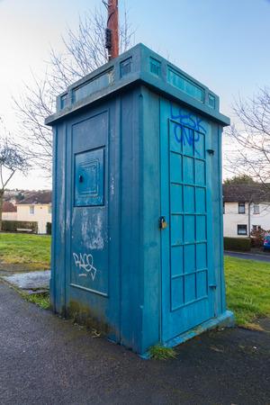 constabulary: Old derelict disused police public call box. Newport, Wales, United Kingdom Stock Photo