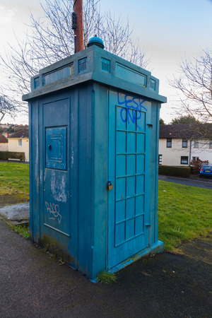 constabulary: Old derelict disused police public call box. Newport, Wales, United Kingdom Stock Photo