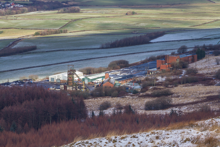 disused: Looking down at disused Tower Colliery. Was the last Deep Coal Mine, Aberdare in the Cynon Valley, south Wales, United Kingdom.