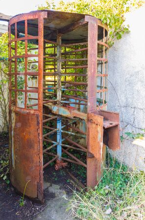 rusting: Derelict rusting turnstile of the Aust Ferry.