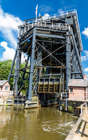 mersey: The Anderton Boat Lift, which raises narrowboats between River Weaver the Trent and Mersey Canal. England, United Kingdom.