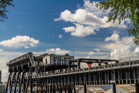 boat lift: Upper trough of the Anderton Boat Lift, which raises narrowboats between River Weaver the Trent and Mersey Canal. England, United Kingdom.