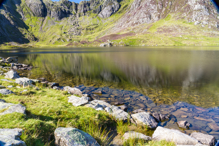 snowdonia: Lake Idwal and The Devils Kitchen, Snowdonia, Wales, United Kingdom.