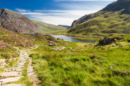 Lake Idwal and path, Snowdonia, Wales, United Kingdom. Stock Photo