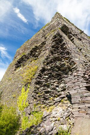 disused: Structure Pyramid that was mount for cables. Disused Dorothea Slate Quarry, Nantlle, Gwynedd, Wales, United Kingdom.