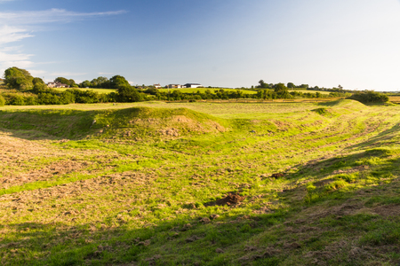 pentagonal: pentagonal enclosure of ancient settlement. Anglesey, Wales, United Kingdom. Stock Photo