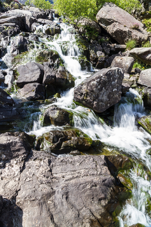 nant: Stream tumbling down from Lake Idwal,  Ogwen Cottage, the Nant Ffrancon Valley, Gwynedd, Wales, United Kingdom