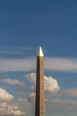 concorde: Luxor Obelisk an Egyptian obelisk in the Place de la Concorde, Paris France. Top reflecting evening sun Stock Photo