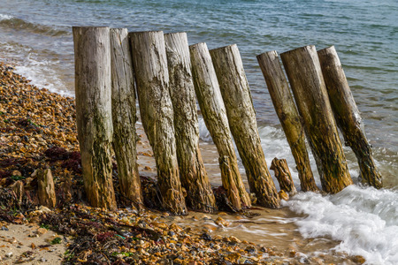 groynes: Old wooden groynes worn away by wave and tide. Stock Photo