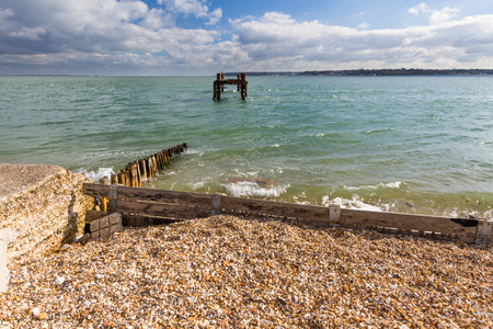exbury: WWII Pier Heads used to load ships for D-Day French Landings. Lepe Country Park, Exbury Southampton, Hampshire, England, United Kingdom