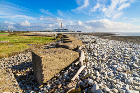 Anti Tank Cubes on beach leading to Aberthaw B Coal Fired Power Station, South Wales, UK.