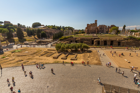 ROME � AUGUST 26: Looking towards the Roman Forum and Temple of Venus and Rome on August 26, 2016 in Rome Editorial