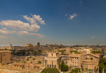 ROME � AUGUST 27: The Roman Forum and city skyline on August 27, 2016 in Rome Editorial