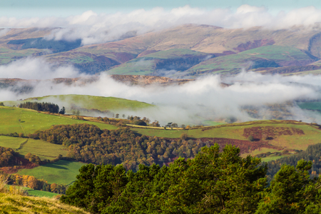 clinging: Welsh countryside with cloud clinging to hills in temperature inversion. Powys, Wales, United Kingdom.