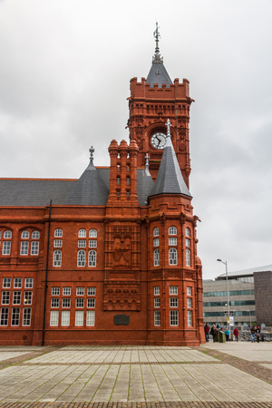 wales: CARDIFF - NOVEMBER 12: Red Pierhead Building, Cardiff, Wales, United kingdom, November 12 2015 in Cardiff.