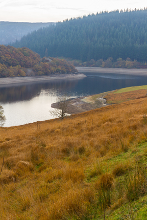 elan: The Penygarreg reservoir Reservoir, part of Elan Valley Reservoirs, showing low water levels in autumn fall. Powys, Wales, United Kingdom.