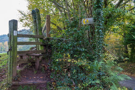 boundaries: Old Wooden Stile, - stiles are common to cross field boundaries on footpaths in the United Kingdom.