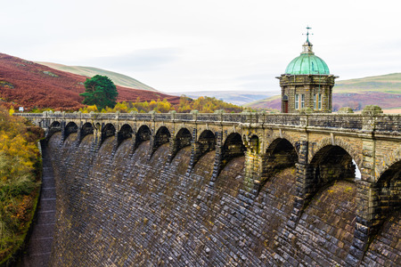 reservoirs: The Craig Goch Dam intake tower, part of the Elan Valley Reservoirs. Powys, Wales, United Kingdom.