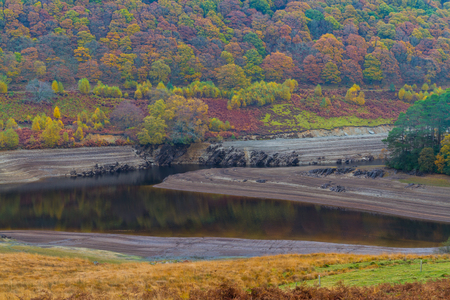 reservoirs: The Penygarreg Reservoir, part of Elan Valley Reservoirs, showing low water levels in autumn fall. Powys, Wales, United Kingdom. Stock Photo